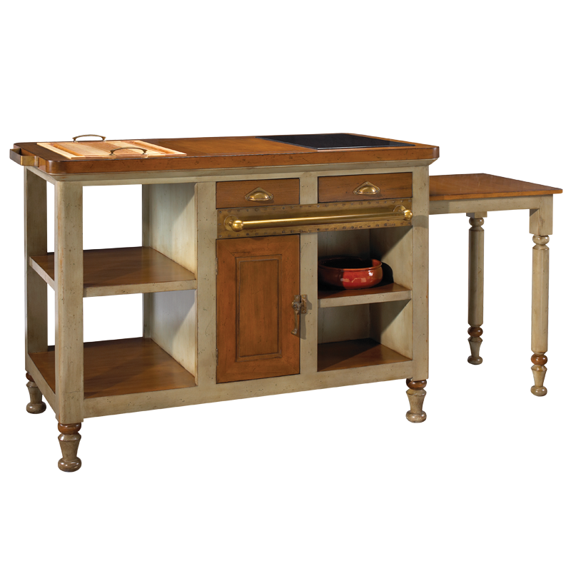 French Heritage Grey Gourmet Kitchen Island M-FL39-199-GRY