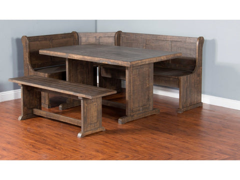 "Farmhouse Style 75"" Breakfast Nook with Storage Bench - Rustic Edge"