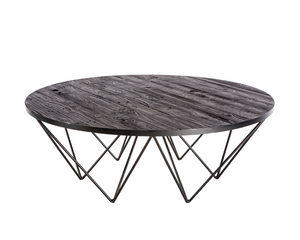 Chevon Round Recycled Pine Plank Coffee Table - Rustic Edge