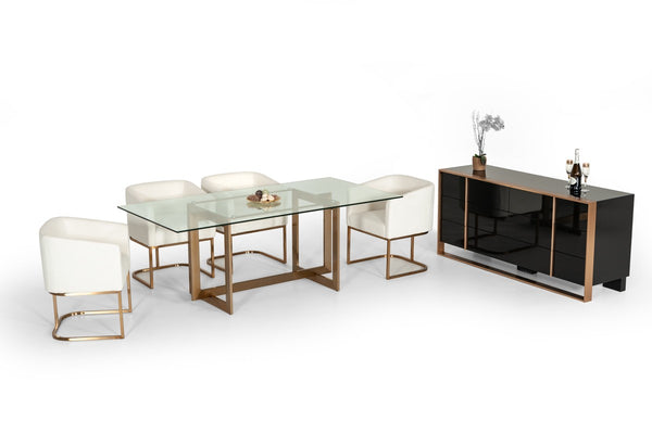 "Adira Modern Glass & Brass 79"" Rectangle Dining Table"