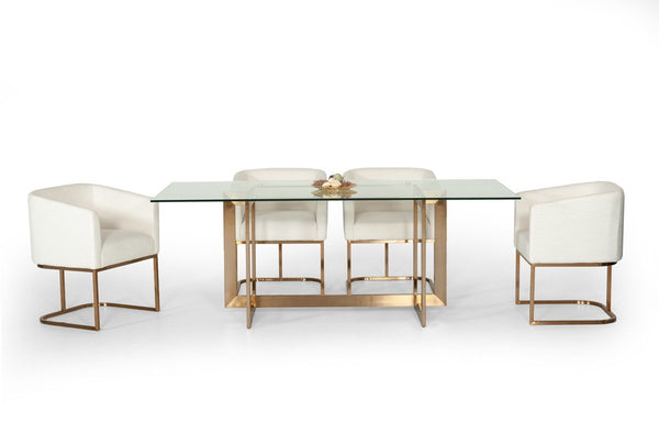 "Annie 79"" Glass Top Dining Table with Brass Legs - Rustic Edge"