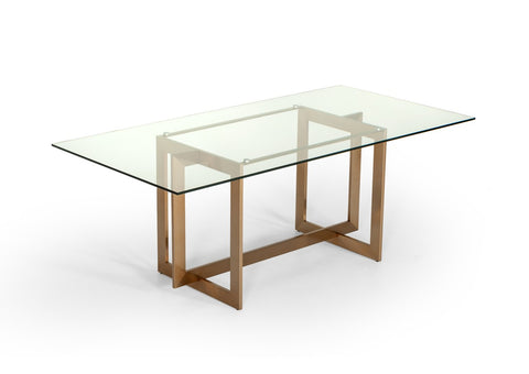 Adira Modern Glass Brass 79 Rectangle Dining Table