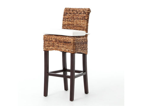 bar stools - Autumn Elle Design Kyla Banana Leaf Bar Stool w/cushion 52014 - Rustic Edge - 1