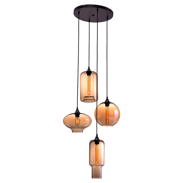 Barett Pendant Glass Amber Globes Lights ZU4221 - Rustic Edge