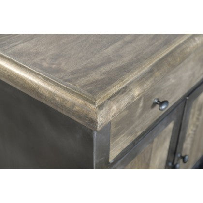 Autumn Elle Lukah Kitchen Island, Iron on Black finish w/Mango Wood C721313D - Rustic Edge