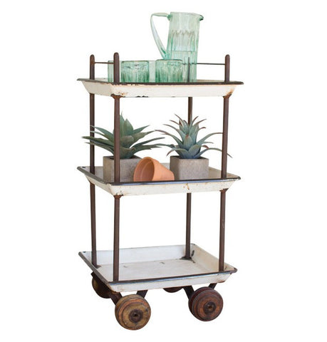 Kalalou Recycled Enamel Bar Cart w/wooden casters NDA1002