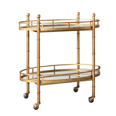 Bungalow 5 Normandy Bar Cart in Gold  NOR-325-808-TB - Rustic Edge