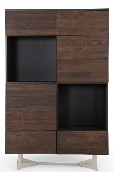 Modrest Wharton Modern Dark Aged Oak Tall Buffet/Liquor Cabinet by VIG Furniture