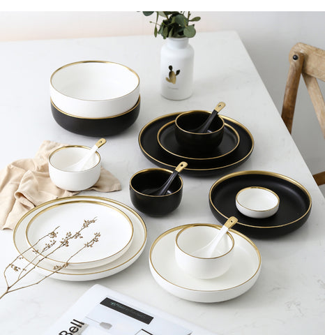 White and Black Round Gold Brush Stroke Ceramic Dinner Ware