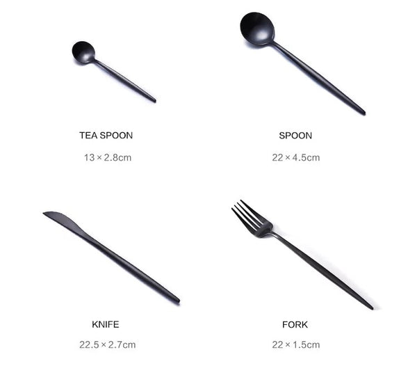 4pc 304 Black Stainless Cutlery Dinnerware
