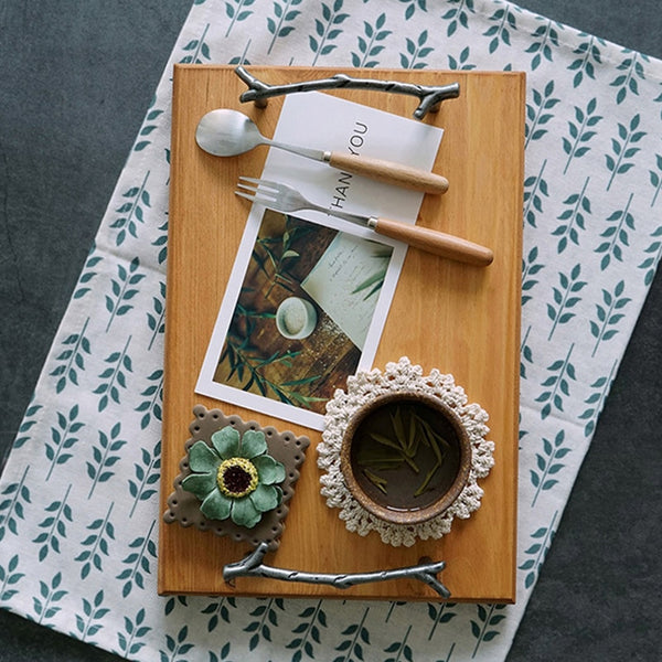 Wooden Serving Tray with Iron Stick Handles