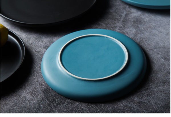 Modern Ceramic Dinner Plates Round with Lip