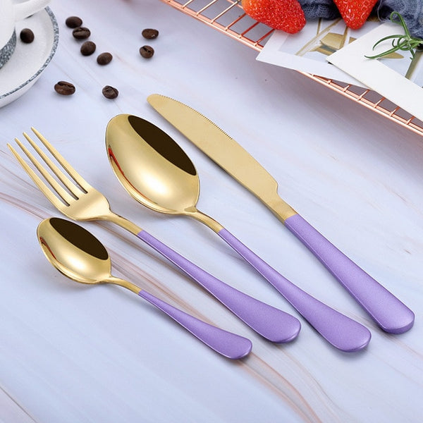 Yefilk Gold/Black/Multi-color Cutlery 4pc Sets