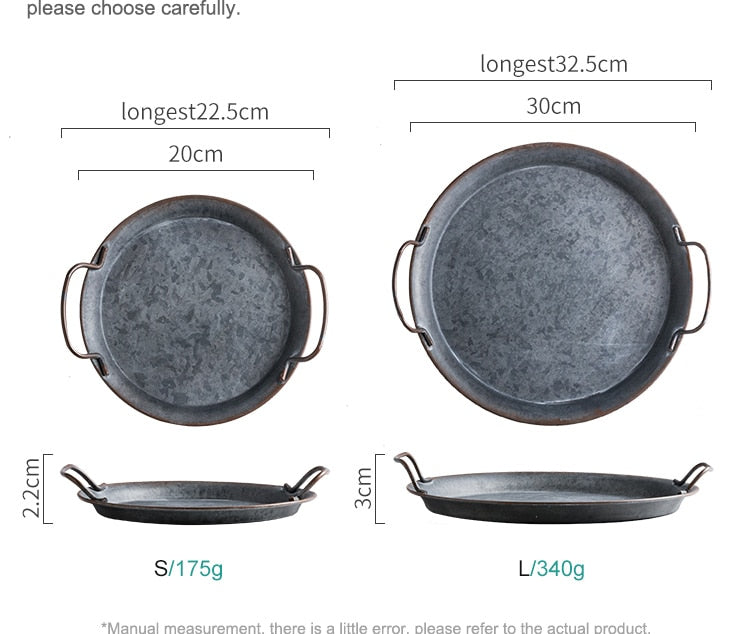 Metal/Iron Round Serving Plate with Handles