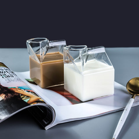 Transparent Milk Box Shape glass Cups/Creamer Pitcher