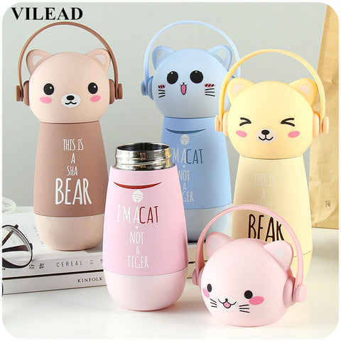 Cartoon Adorable Cats Kids Thermos Stainless Steel Water Bottle - Rustic Edge