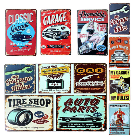 Vintage Metal Tin Sign Car Repair Shop Garage