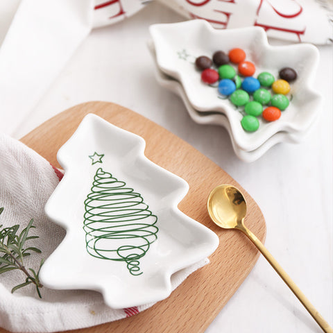 1pc Christmas Tree Ceramic Dish - Rustic Edge