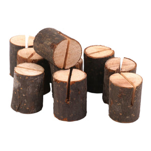 10pcs Wooden Log Place Card Holders - Rustic Edge