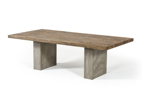 "Zeo 79"" Concrete & Oak Dining Table - Rustic Edge"