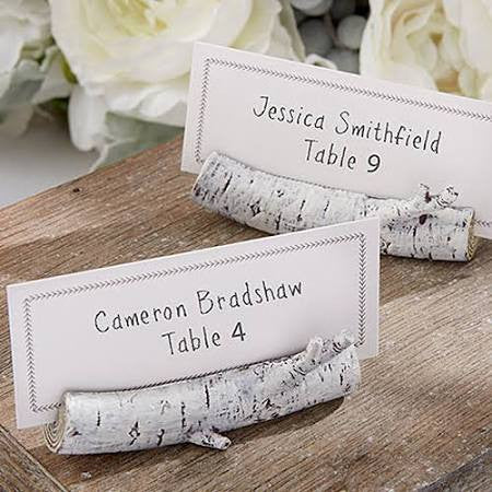 Rustic Birch Log Place Card Holder (Set of 10)