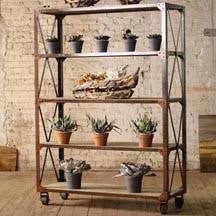 Kalalou Tall Iron And Wood Display With Five Shelves And Iron Casters CQ6080