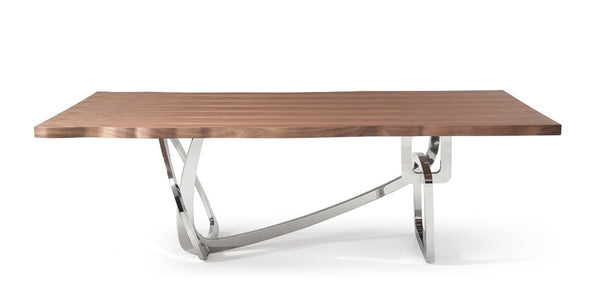 "Melody 94"" Walnut & Stainless Steel Dining Table - Rustic Edge"