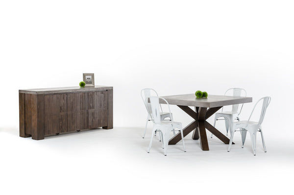Modrest Urban Modern Concrete Acacia Wood Dining Set by VIG furniture