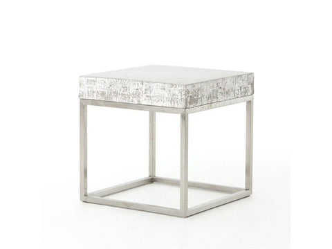 Alcina Concrete And Chrome Side Table - Rustic Edge