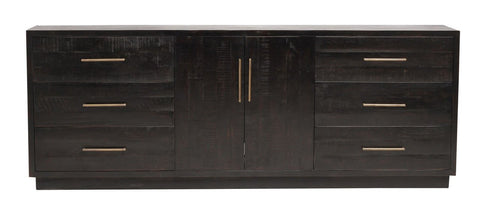 Alvere Large Media Console - Burnished Black - Rustic Edge