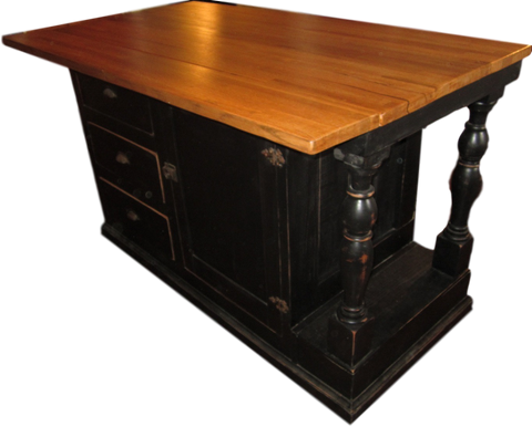Kitchen Island - Wes Dalgo Black Double-Sided Pass-Through Kitchen Island - Rustic Edge - 1
