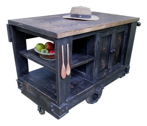 Kitchen Cart - Wes Dalgo Distressed Black Modern Rustic Kitchen Island Cart w/Walnut Stained Top - Rustic Edge - 1