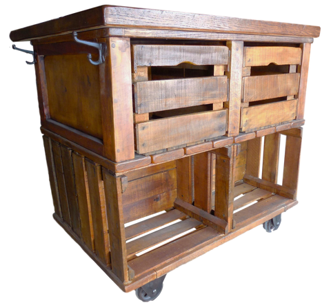 Kitchen Carts - Wes Dalgo Apple Crate Rustic Farmhouse Kitchen Island Cart - Rustic Edge - 1