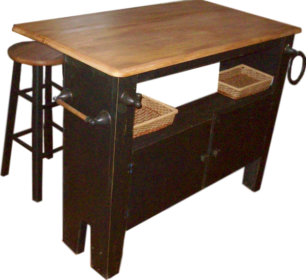 Kitchen Island - Wes Dalgo Brown/Black/White Drop Leaf Kitchen Island - Rustic Edge