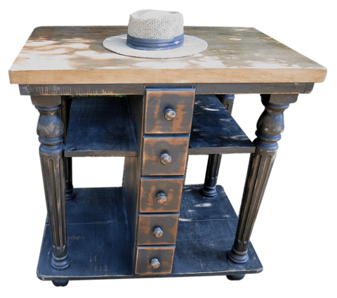 Kitchen Island - Wes Dalgo Rustic Old World Island for Smaller Kitchens - Rustic Edge - 1