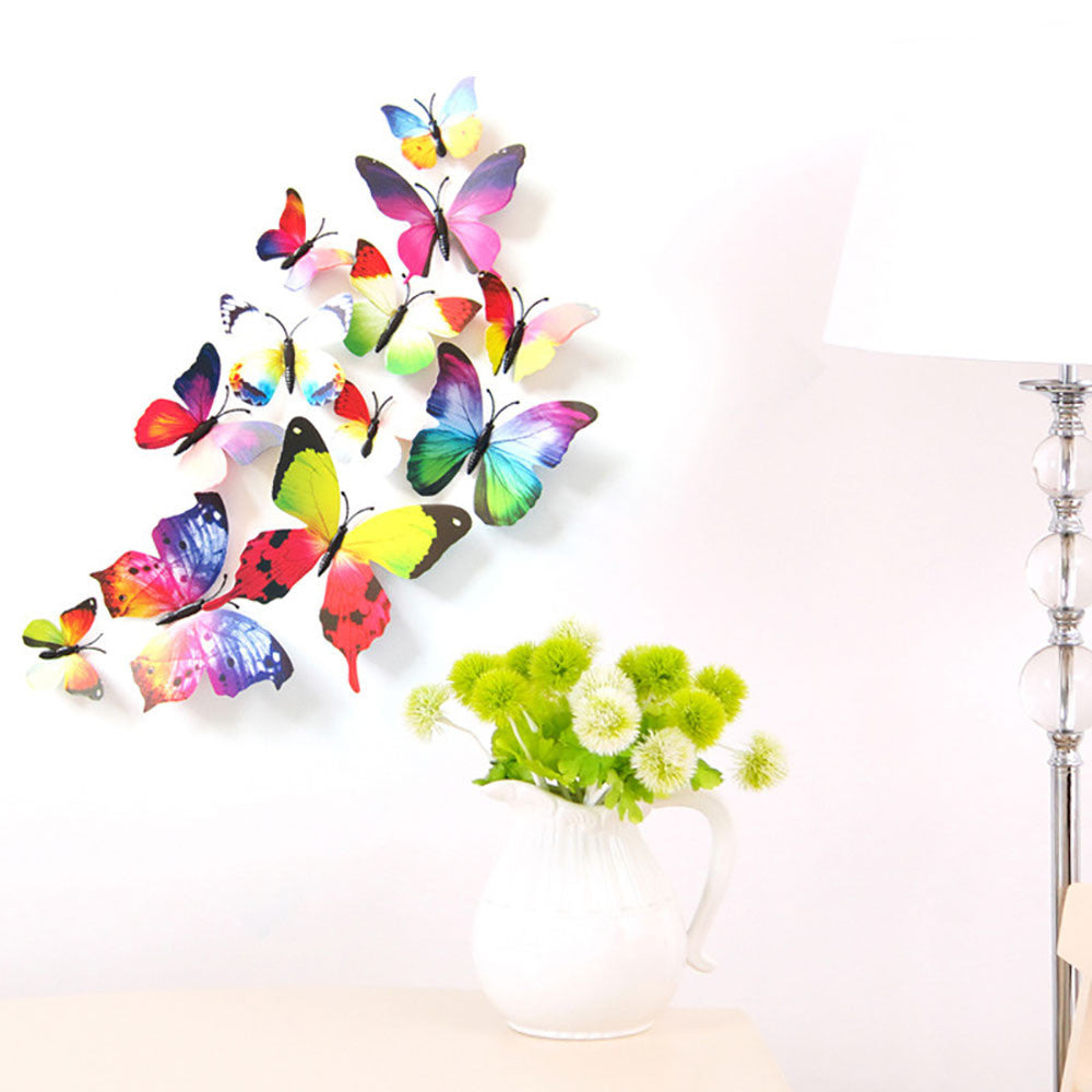 3D Butterfly Wall Stickers - 12-Piece Set
