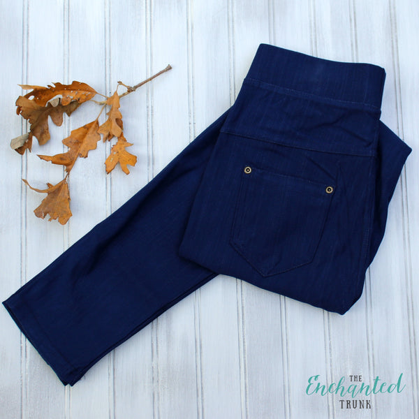 Navy Denim Leggings One Size & Plus