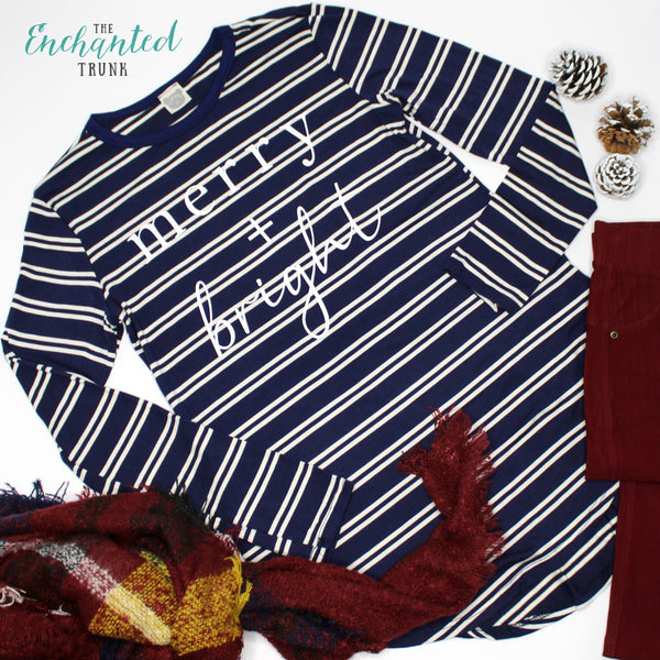 Merry & Bright Navy Top S-L