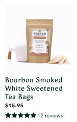 Embrew's Bourbon Smoked White Sweetened tea with a graphic displaying its 12 reviews.