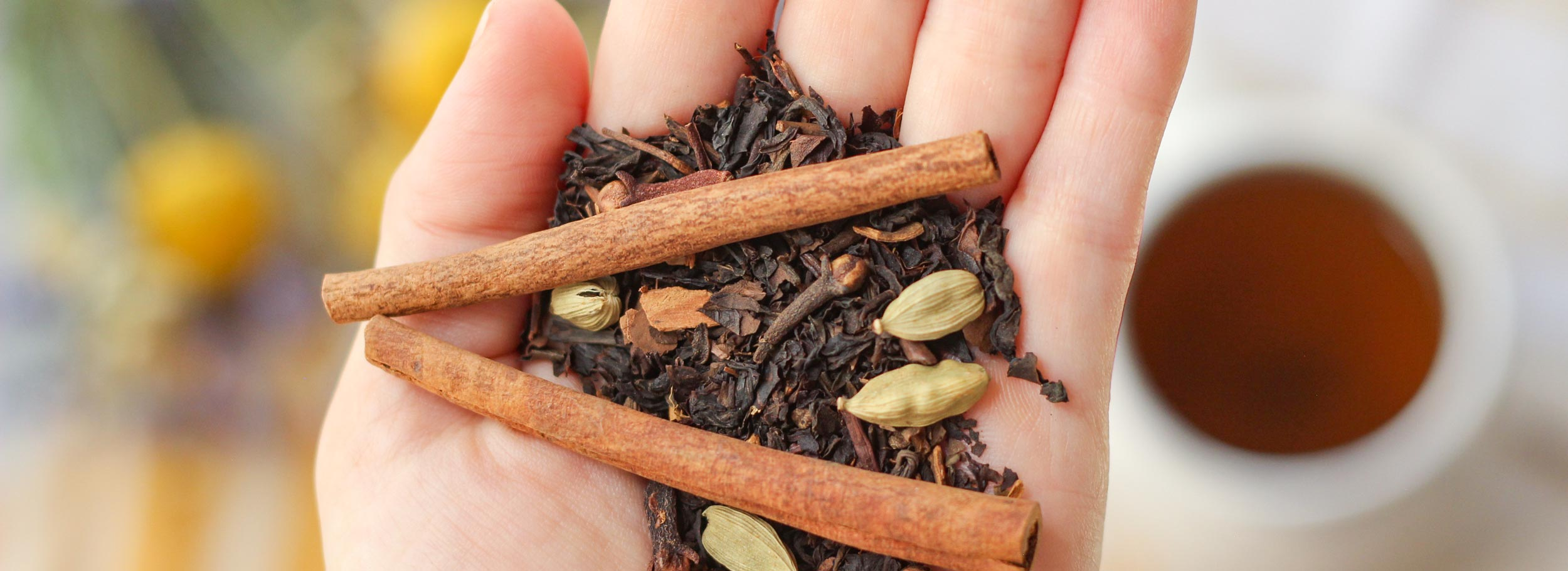 chai spices in hand with tea cup