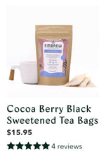 Cocoa Berry Black sweetened tea bags with product reviews.