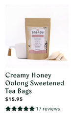 Creamy Honey Oolong sweetened tea bags with product reviews.