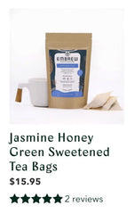 Embrew's Jasmine Honey Green Sweetened tea with a graphic displaying its reviews.