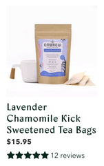 A product image of Embrew's Lavendar Chamomile Kick Sweetened Tea Bags with an icon for its 12 reviews.