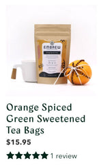 Embrew's Orange Spiced Green Sweetened tea with a graphic displaying a review.