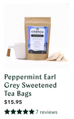 Peppermint Earl Grey Sweetened Tea Bags with product reviews.