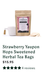 Embrew's Strawberry Yaupon Hops Sweetened tea with a graphic displaying its 4 reviews.
