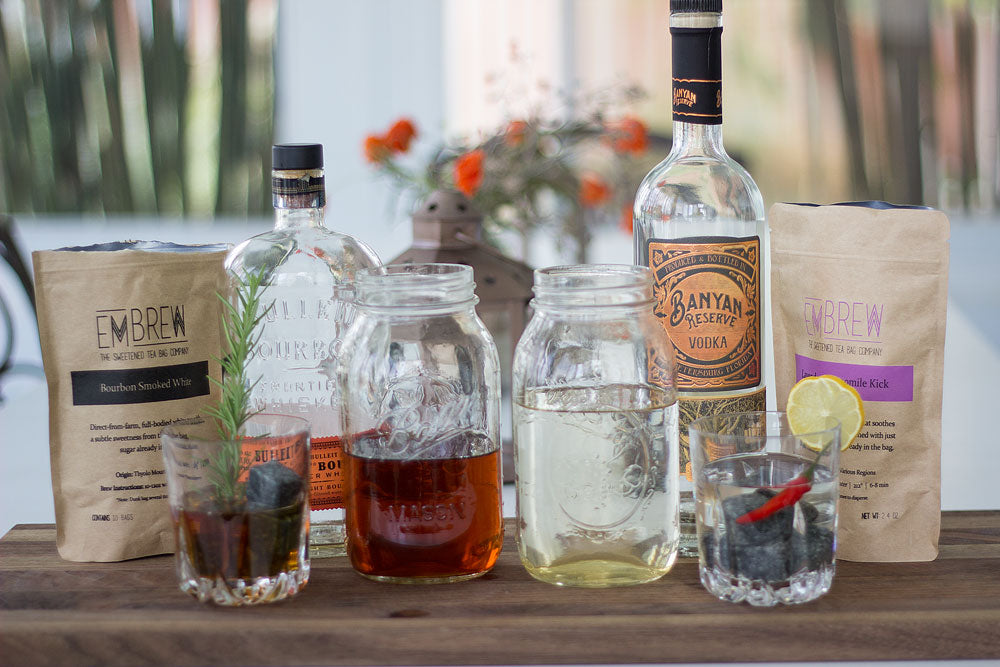 craft tea cocktails with bourbon and vodka