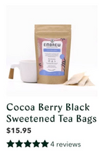 A product image of Embrew's Cocoa Berry Black Sweetened Tea bags, including its 4 reviews.