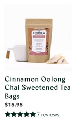 A pouch of Embrew's Cinnamon Oolong Chai tea above a graphic displaying its 7 reviews.